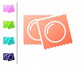 Coral Condoms In Package Safe Sex Icon Isolated On White Background. Safe Love Symbol. Contraceptive poster