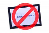 Ban Social Networks. The Tablet With The Inscription, Social Networks And A Ban Icon. Isolated The C poster