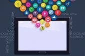 Social Media Concept. Social Icons Fly Out Of The Tablet. Social Media Background. poster