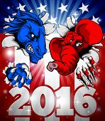 A Blue Donkey And Red Elephant Tearing Through The Background. American Politics 2016 Election Conce poster