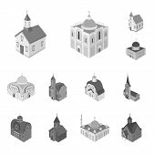 Vector Design Of Landmark And Clergy Icon. Collection Of Landmark And Religion Stock Symbol For Web. poster
