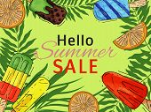 Ice Cream Hello Summer Poster Natural Fresh And Cold Sweet Food Vector Illustration. Healthy Homemad poster