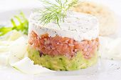 Salmon Tatar with avocado and dill cream