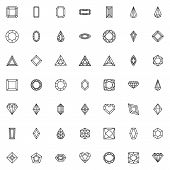 Various Diamond Shapes Line Icons Set. Linear Style Symbols Collection, Outline Signs Pack. Vector G poster