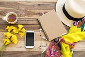 Yellow Scarf ,mobile Phone ,hat ,notebook And Hot Tea Of Lifestyle Woman Relax Summer With Yellow Fl poster