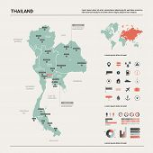 Vector Map Of Thailand. Country Map With Division, Cities And Capital Bangkok. Political Map,  World poster