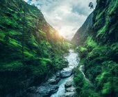 Beautiful Mountains Covered Green Grass At Sunset. Landscape With Mountain Canyon, River, Meadows An poster