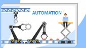 Automation Of Production. Human Resources Automation Vector Illustration. Flat Tiny Person Work poster