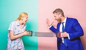 Gender Equality And Discrimination. Gender Rivalry Concept. Man And Woman Stretching Expander Opposi poster
