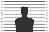 Creative Illustration Of Police Lineup, Mugshot Template With A Table Isolated On Background. Art De poster