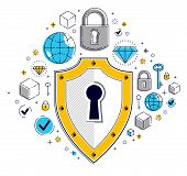 Shield And Set Of Icons, Internet Security Concept, Antivirus Or Firewall, Finance Protection, Vecto poster
