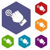 Cursor Hand Click Icon. Simple Illustration Of Cursor Hand Click Vector Icon For Web poster
