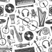 Music Instruments Seamless Pattern Of Guitar, Piano And Violin With Music Notes. Vector Folk Maracas poster