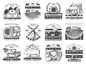 Farm Agriculture And Cattle Industry, Farming Food Production. Vector Icons Of Cattle Farm Cow And P poster