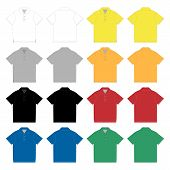 Set Of Polo T-shirt Design Template. Technical Sketch Unisex Polo T Shirt poster