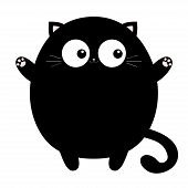 Black Round Fat Cat Ready For A Hugging. Open Hand Pink Paw Print. Kitty Reaching For A Hug. Funny K poster