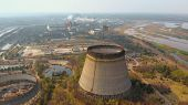 Chernobyl Nuclear Power Plant. Cooling Tower Overlooking The Nuclear Power Plant In Chernobyl. View  poster