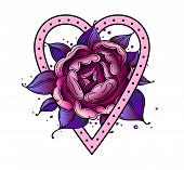 Tattoo Dog Rose Pion Flower With Heart.tattoo Old School Style, Symbol Of Love. Boho Print.vector Il poster