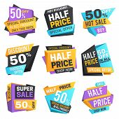Half Price Labels. Super 50 Off Discount Sale Pricing Tags. Vector Set. Illustration Of Price Discou poster