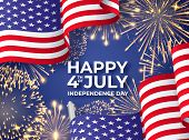 Usa Independence Day. Banner With Waving American National Flags And Fireworks. 4th Of July Poster T poster