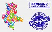 Vector Colorful Mosaic Saxony-anhalt Land Map And Grunge Stamp Seals. Flat Saxony-anhalt Land Map Is poster