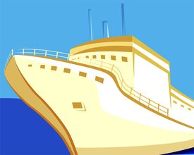 pic of cruise ship  - Illustration of a ship with brown hull at sea in blue background - JPG