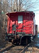 stock photo of caboose  - this caboose sits resting while waiting to do another trip - JPG