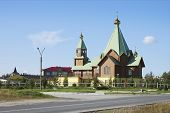 foto of murmansk  - The Holy Trinity temple in the city of Polyarnye Zori - JPG