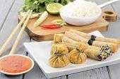 stock photo of lumpia  - Oriental Snacks  - JPG