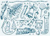 image of winterberry  - Set of Christmas doodles - JPG