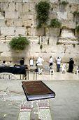 foto of tora  - Jewish bible on table wailing western wall jerusalem israel - JPG
