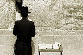 image of tora  - young hasidic jew at the wailing western wall jerusalem israel - JPG