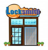 picture of locksmith  - Illustration of a locksmith shop on a white background - JPG
