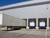 picture of loading dock  - Loading dock cargo doors at big warehouse - JPG