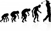 picture of darwin  - illustration of depicting the evolution of a male from ape to man to Golf player in silhouette - JPG