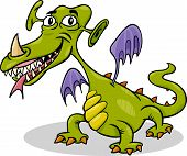Cartoon Funny Monster Or Dragon Illustration