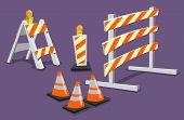 image of barricade  - Various road construction traffic hazard warning barricades - JPG