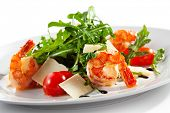 pic of tiger prawn  - Tiger Prawns and Rucola  with Parmesan Cheese and Cherry Tomato - JPG
