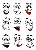 pic of angry smiley  - Set of funny comic faces in cartoon style for design - JPG