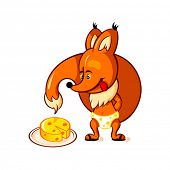 stock photo of adoration  - Little red fox adoring big piece of cheese - JPG