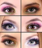 Collage of different eye make-up
