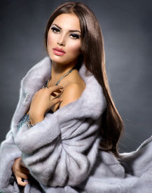 picture of mink  - Beauty Fashion Model Girl in Blue Mink Fur Coat - JPG