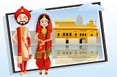 picture of sikh  - easy to edit vector illustration of Sikh wedding couple - JPG