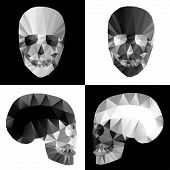 Crystal skulls on black and white backgrounds