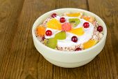 picture of lenten  - Delicious oatmeal with fruit in bowl on table close - JPG