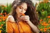 stock photo of marigold  - Beautiful Teenage Model girl smelling flower over marigold flowers field - JPG