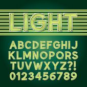 stock photo of neon green  - Green Parallel Neon Light Alphabet And Numbers - JPG
