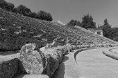 picture of epidavros  - Concentric patterns of Epidaurus ancient Greek theatre - JPG