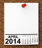 picture of calendar 2014  - Calendar April 2014 on blank note paper with free space for your text - JPG