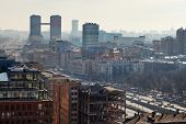 foto of smog  - above view of leningradsky prospekt in Aeroport district in Moscow in day with smog in air - JPG